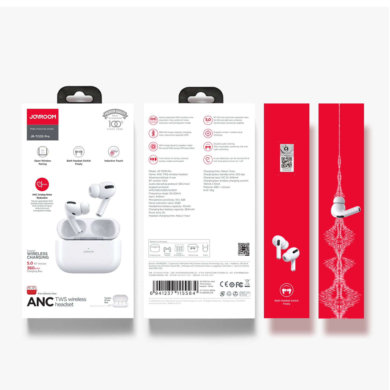 Joyroom High Quality T03S Pro Earbuds ANC TWS Wireless Earbuds Bluetooth Active noise cancelling Earphones Reduction Earphone - idealBuds Earphone | idealBuds.net