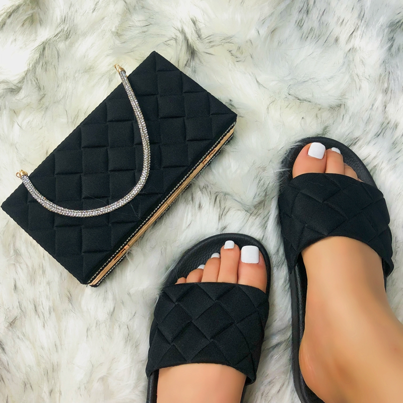 2021 Amazon hot sales women handbags fashion slide sandals for lady dinner handbag wholesales matching bags and slippers ladies