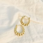 Hoop Dylam Gold Big Hoop Earrings Clasp Button Women Clip Cuff Earring Statement Beaded Brass Circle Filled Large