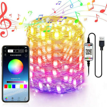USB Fairy Lights Smart RGB LED String Light Remote Controlled Music Sync APP Control Christmas Tree Light