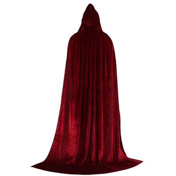 Halloween party Hooded Cloak Long Velvet Cape dropshipping