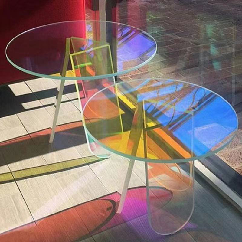2021 Nordic Modern Crystal Living Room Furniture Round Iridescent Side Table Colorful Smart Rainbow Acrylic Coffee Table