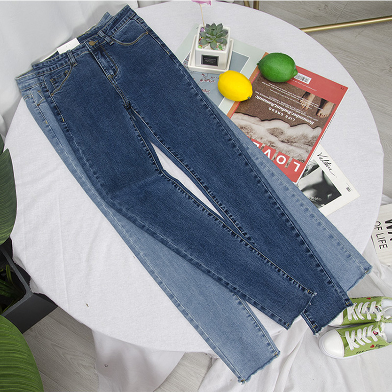Women high waist skinny ankle jeans with high elastic.  pencil pants