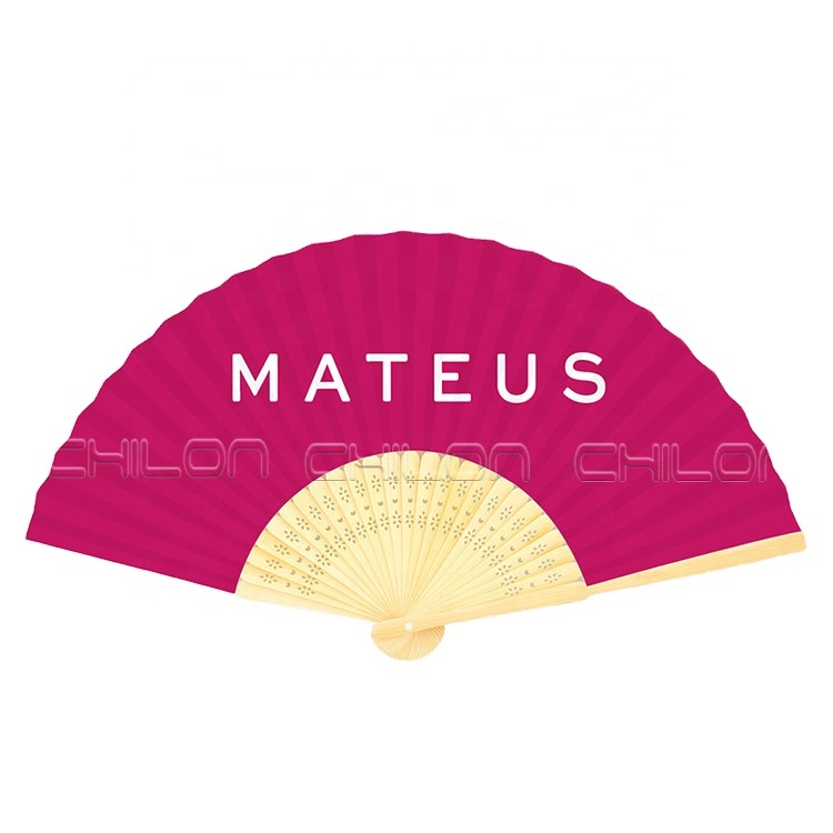 Personalized 8 inch bamboo customized hand fan with fabric printing for lady