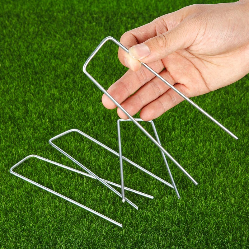 6 Inch 11 Gauge Galvanized Garden Staples Ground U Shaped Landscape Pins