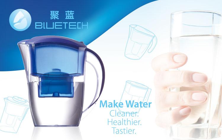 2021 New BLUETECH 2.4L Removes Chlorine Metals & Sediments Alkaline Water Purifier Ionizer Filter Jug Pitcher