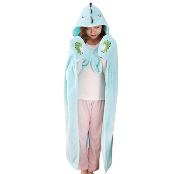 Flannel hooded blanket Animal Fleece Costumes Cartoon Dinosaur Capes Shawl Hooded Cloaks wore glove