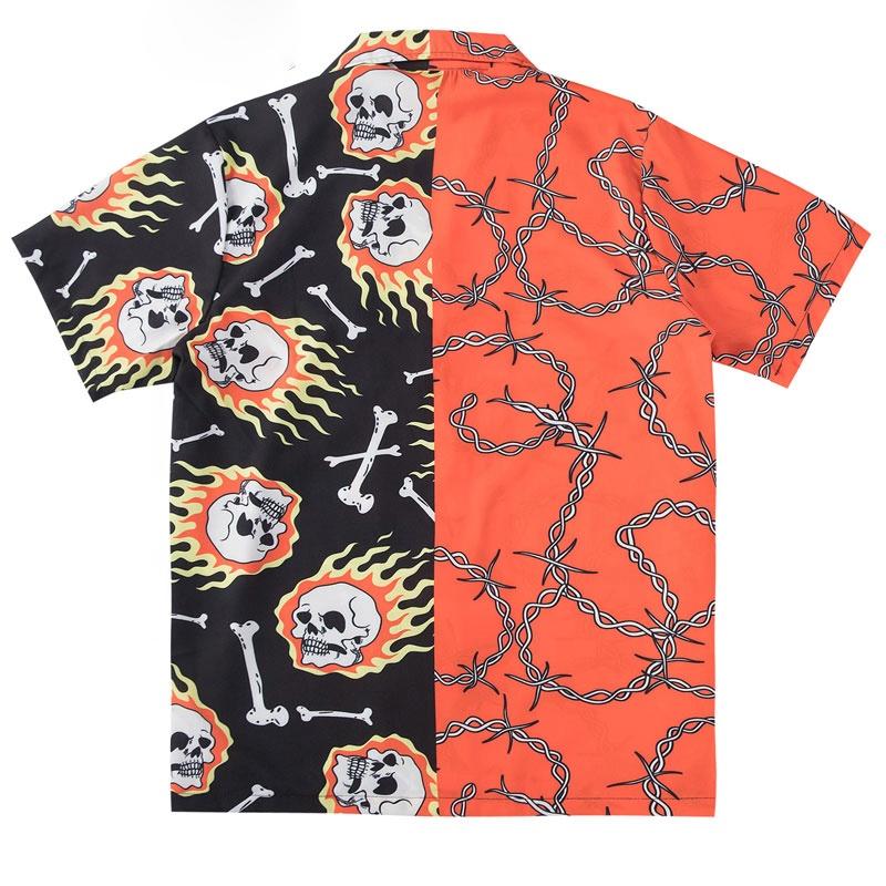 Free Sample Skull Chain Bone Print Color Block Patchwork Hawaiian Shirts Hip Hop Casual Short Sleeve Button Down Tops Streetwear