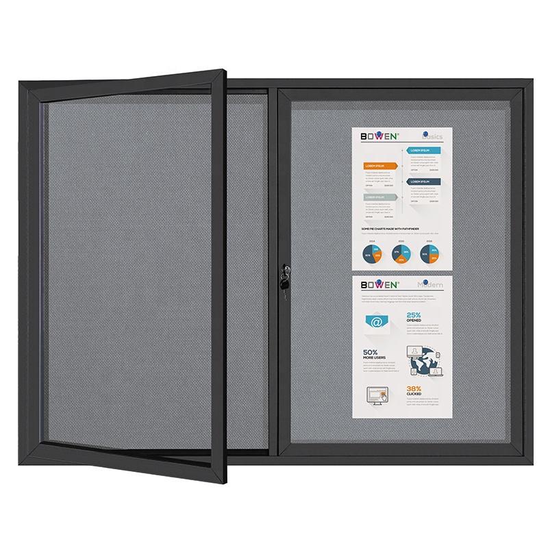 Lockable Outdoor Fabric Cork Bulletin Notice Board With Acrylic Glass Door