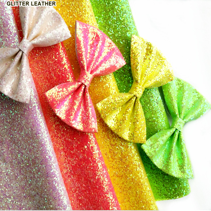 For Shoes Bags Bow Crafts Fluorescent Neon Sparkly Shiny Synthetic Chunky Glitters Vinyl Fabric PU Faux Leather