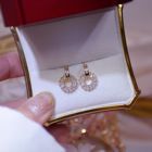 Ins Exquisite 14k Real Gold CZ Cubic Circle Earring S925 Post Hollow Round Stud Earring For Girl