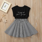Casual Dress Wholesale High Quality Summer Sleeveless Cotton Letter Print Black White Striped Casual Princess Girl Dress
