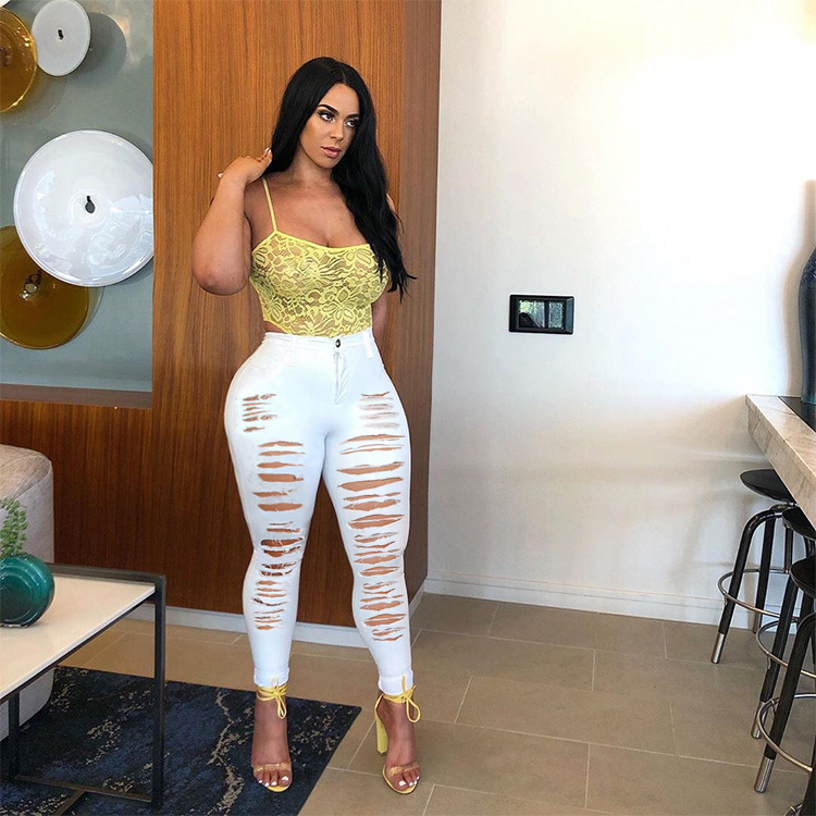 2021 New Arrival Fashion Stretch Ripped Jeans Pants Women Solid Color Plus Size Skinny Denim Jeans