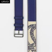 URVOI Печатный двойной тур ремешок для Apple Watch группа 5 4 3 2 1 для iwatch натуральная кожа петля сверхдлинный ремень качество(Китай)