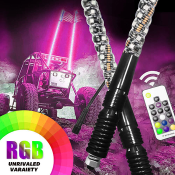 Remote Control RGB 360 Degree Spiral LED Antenna Whip Lights with Spring for UTV Off-Road Vehicle ATV RZR