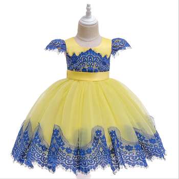 D0112 Birthday Girls Boutique Clothing Kids Frock Patterns Short Sleeves Wedding Party Princess Dresses For Kids