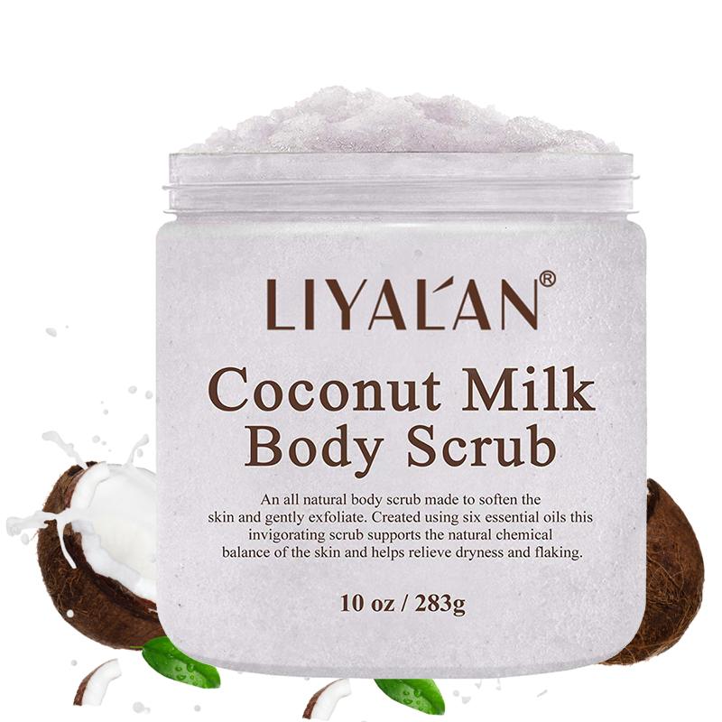 OEM LIYALAN Private Label Organic Best Skin Care Moisturizing Exfoliated Coconut Milk Face and Body scrub