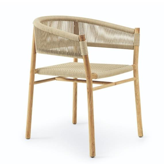 Роскошные уличные кресла из тикового дерева, плетеный стул для отдыха paito, садовая веревочная мебель