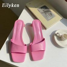 Женские брендовые шлепанцы Eilyken, пляжные шлепанцы с открытым носком на низком каблуке, повседневные сандалии для отдыха, лето 2020(Китай)