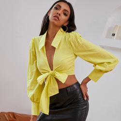 Пикантная рубашка, Повседневная рубашка с низким вырезом и длинным рукавом, женская блузка, женская одежда, блузки, Топ