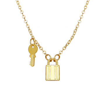New arrival vintage women men gold choker chain lock and key necklace pendent for party gifts
