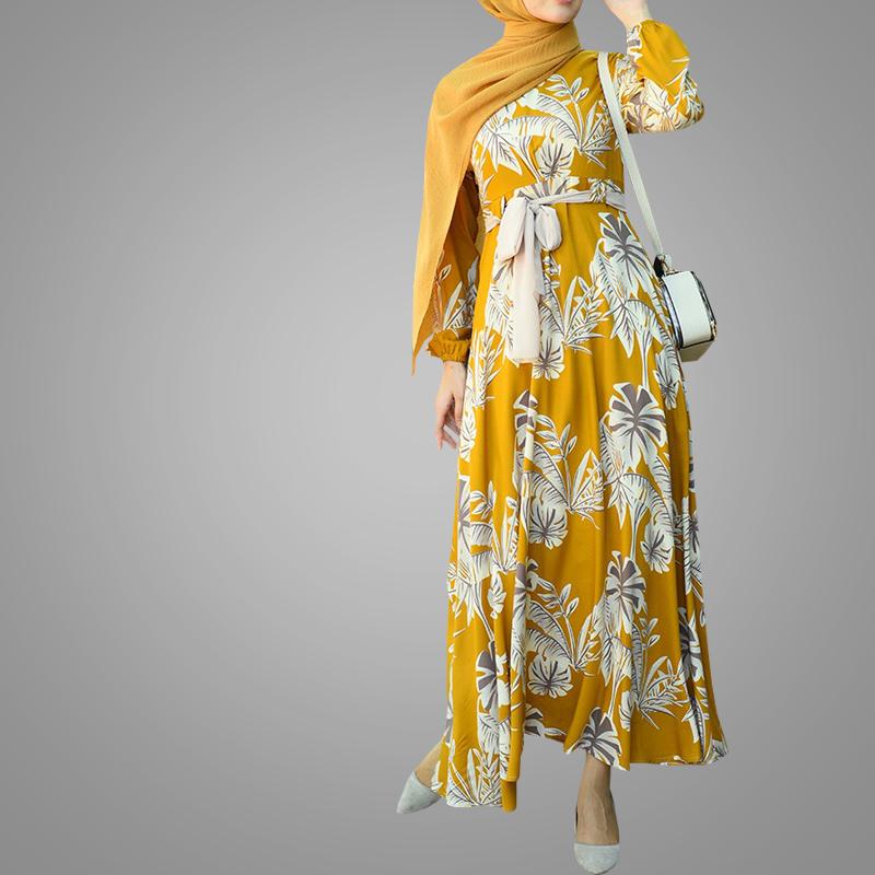 Plus size Ethnic Women Kaftan Fashion Abaya Long Sleeve Islamic Clothing Print Long Dress High Quality Summer Beach Chiffon