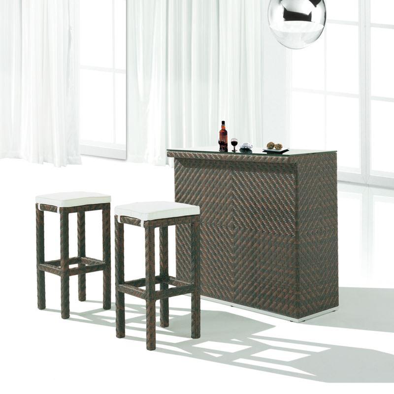 Плетеный барный стол из ротанга и набор мебели для стульев
