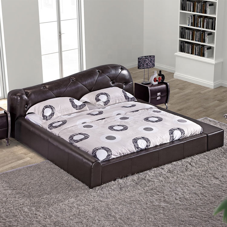 Modern Smashed Diamond Brown PU Leather Double King Curved Leather foldable Bed headboaed for Furniture