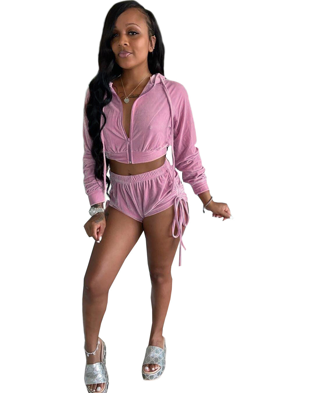 2021 New Arrivals Women Two Piece Sets Hoodies Sexy Velvet Solid Long Sleeve Cardigan Coat+pant Stacked Pants as Picture Chiffon