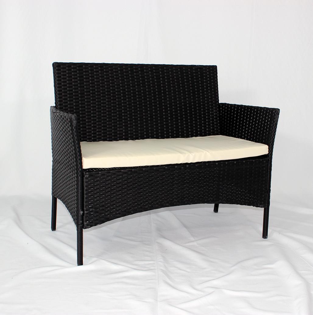 Заводская поставка, черный цвет, 4 шт., набор PE плетеных диванов из ротанга, уличная мебель, садовый Плетеный набор из ротанга, стальная труба