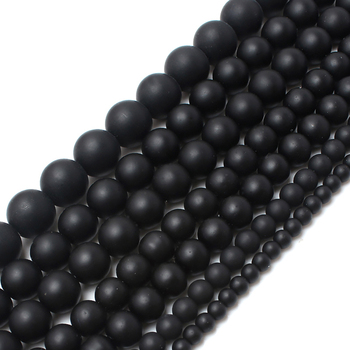 New Style 4mm/6mm/8mm/10mm/12mm Dull Polish Agates Onyx Matte Black Glass Beads For Jewelry Making