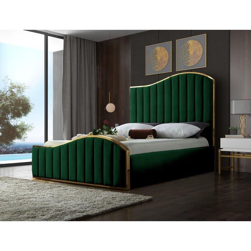 Modern Luxury Wave Design Bedroom Furniture Golden Metal Frame Wood Bed Buy Wood Bed Frame Platform Bed Modern Bed Product On Alibaba Com