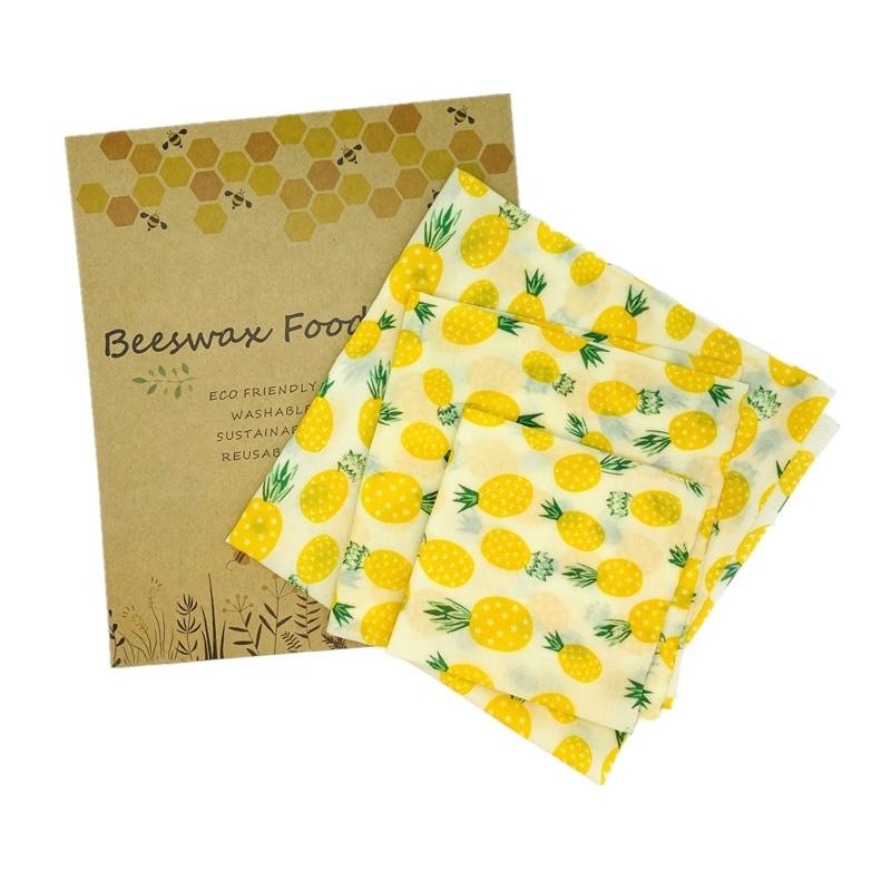 Нулевые отходы многоразовая пищевая обертка Экологичная 100% хлопковая пищевая обертка 3 упаковки пчелиный воск пищевая обертка