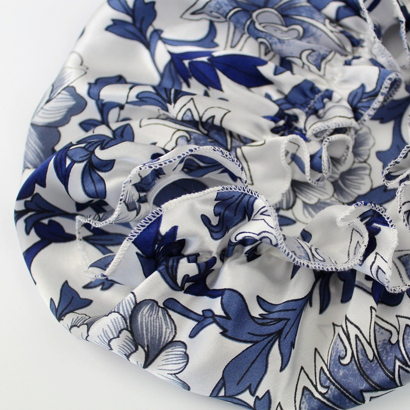 Old Fashioned Classical Floral Stain Hair Wrap Cap for Women Sleeping Silk Night Cap