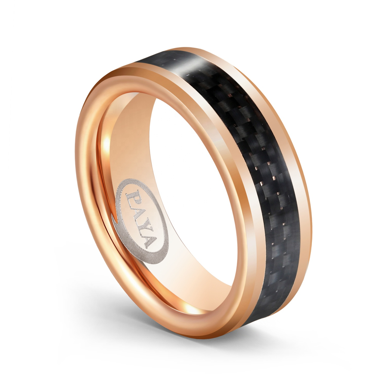 18k Rose Gold Tungsten Wedding Ring,Black Tungsten Ring,Anniversary Ring,Black Tungsten Ring,Men /& Women,Tungsten Carbide Ring,Engagement