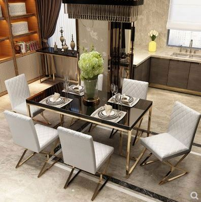 Nordic postmodern simple design restaurant hotel table and chair combination light luxury metal legs tempered glass dining table