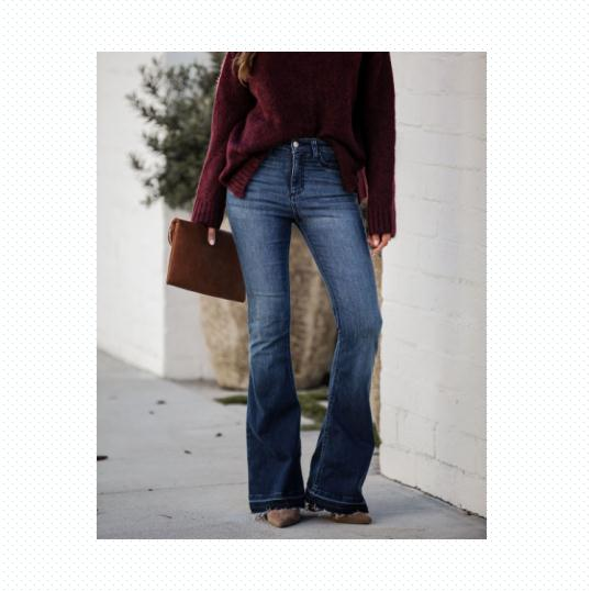 New Arrival Spring Fall Winter Solid High Waist Ladies Bell Bottom Jeans Women