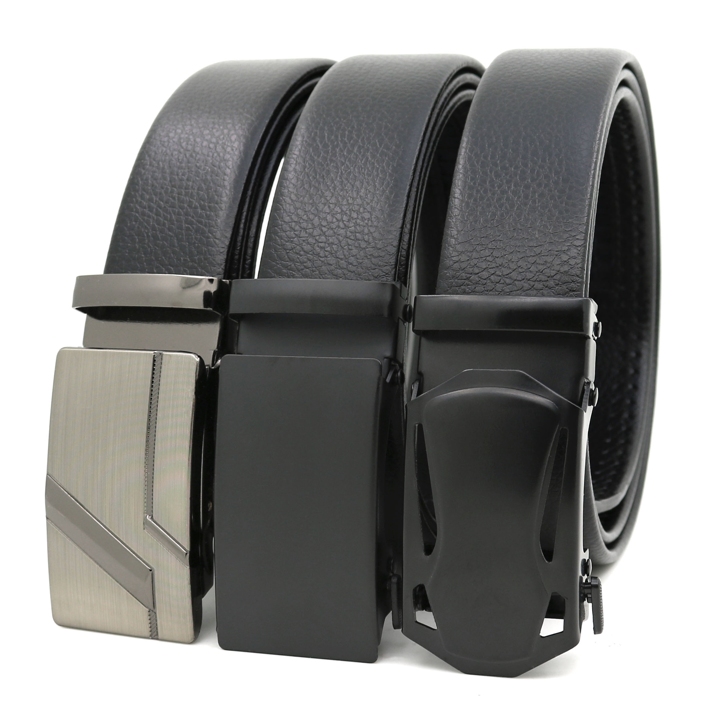 New Mens Automatic Buckle Belts Microfiber Durable PU Belts For Men Ratchet Belt Iron Buckle YiWu LQbelt Factory