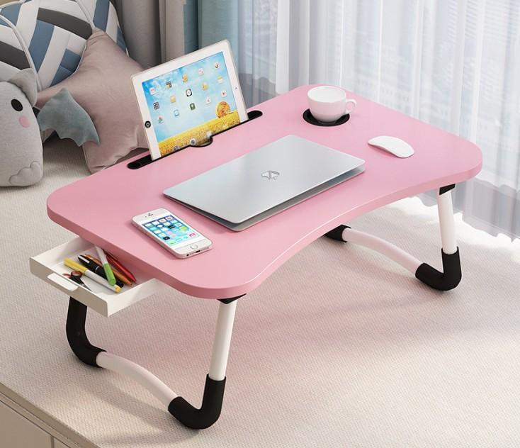 Складная деревянная настольная подставка для ноутбука, складной держатель из МДФ с металлическими ножками, деревянный стол для ноутбука с подстаканником и ящиком