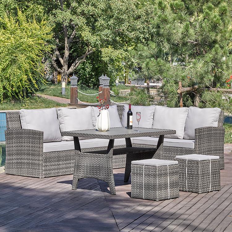 Под заказ изогнутый 7 штук l u-образный балкон дешевый угловой ротанговый Плетеный патио наружный модульный секционный диван продажа мебели