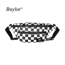 Buylor поясная сумка женская клетчатая поясная сумка в стиле хип-хоп Мужская трендовая модная поясная сумка холщовая нагрудная сумка Новый ка...(Китай)