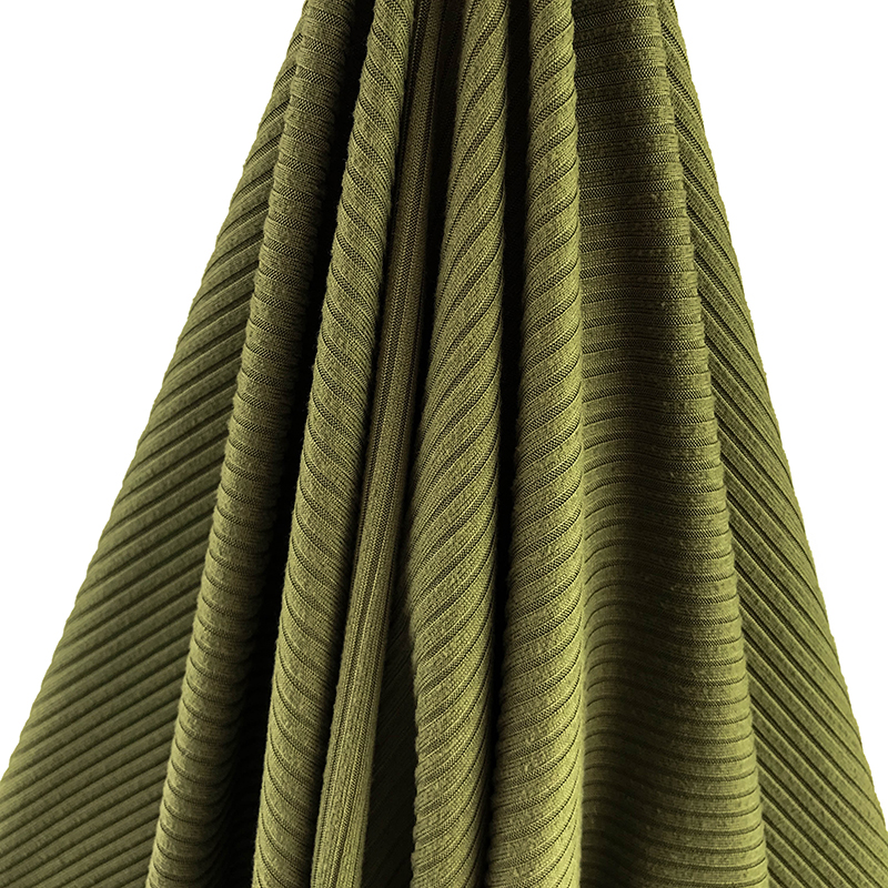 material cheap fabric poly spandex 4*2 brushed rib fabric dyed knitted textile telas tissu for garments