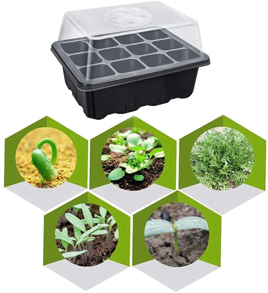 5-piece seed starter tray Suitable for large garden sowing trays with humidity adjustable lid Dome and base plate Seed greenhous