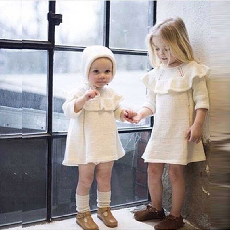 Kids Baby Girls Autumn Winter Long Sleeve Casual Knit Dress Fashion Clothes