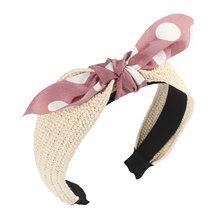 Женский соломенный ободок LEVAO, однотонный ободок ручного изготовления в Корейском стиле с узелком, аксессуар для волос(Китай)
