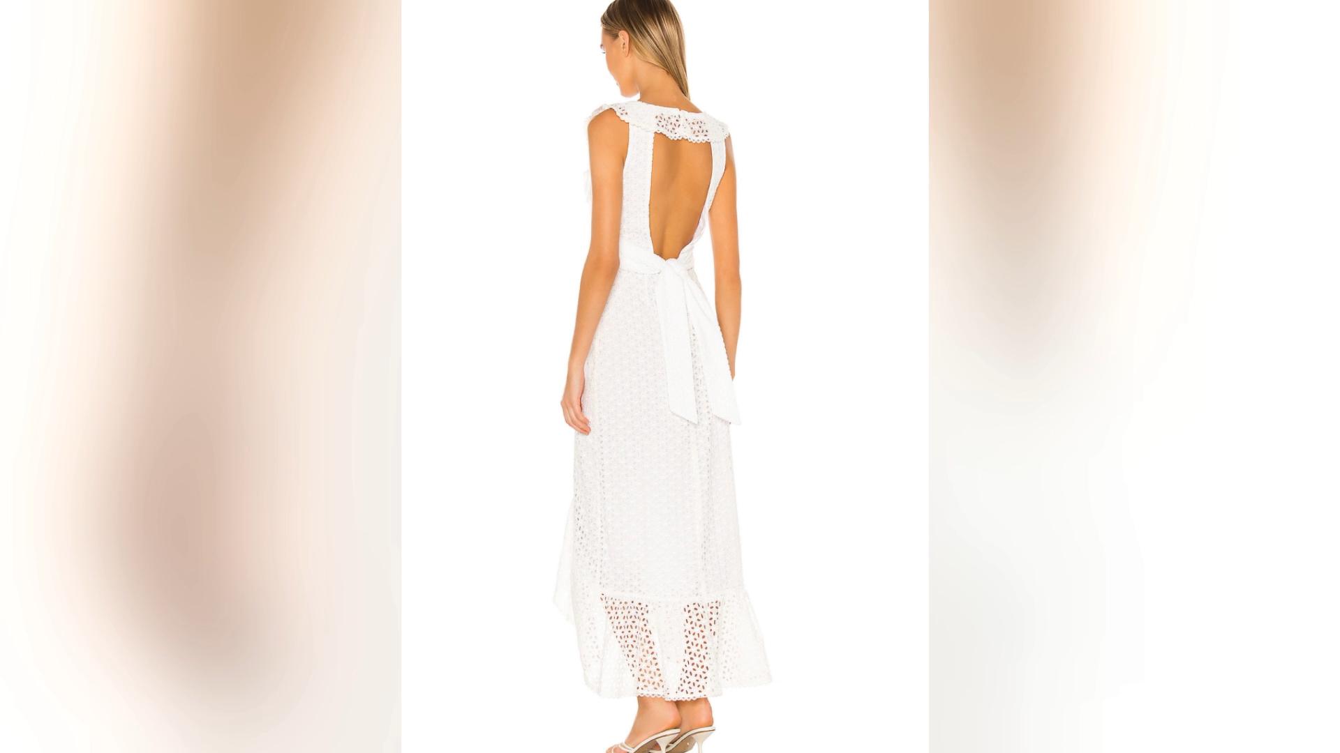2021 OEM summer custom casual clothes cotton Eyelet fabric backless ruffles boho split maxi dress for women
