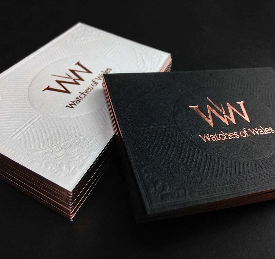 Luxury rose gold foil business cards,black paper letterpress gold foil name card