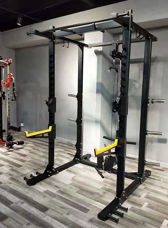 Home use Fitness Body Building Multifunctional pull up bar chest press Adjustable Cage Smith Squat Power Rack with with pulley