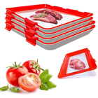 Eco Reusable Rectangle Stackable, Kitchen Vegetable Plsus 4 Pcs Food Creative Tray Keeping Food Plastic Preservation Tray/
