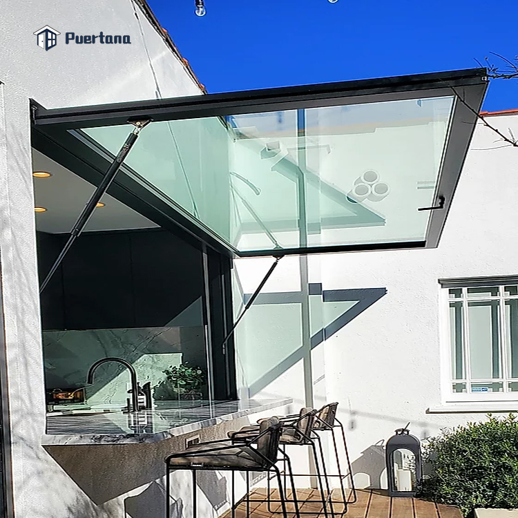 Алюминиевые проходные окна с газовой стойкой, выдвижные откидные окна для кухни, бара